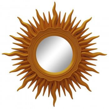 Зеркало солнце настенное с лучами «Ринд» Оранжевое
