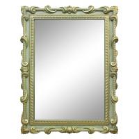Зеркало настенное в зелёной раме «Лива» Олива/золото/патина