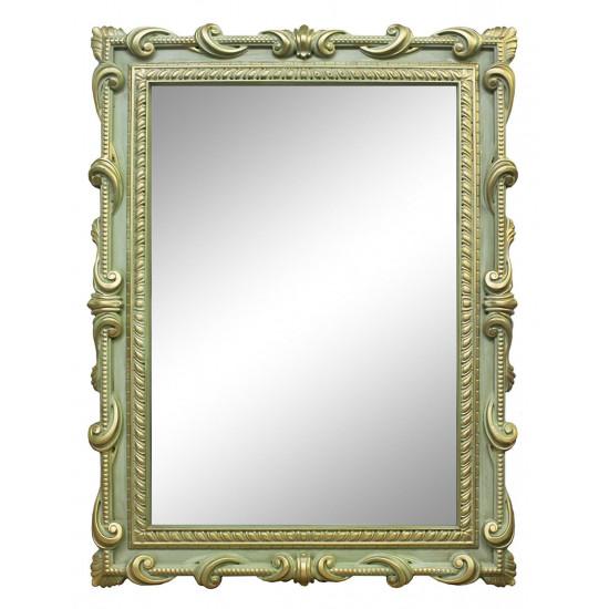 Зеркало настенное в зелёной раме «Лива» Олива/золото/патина в интернет-магазине ROSESTAR фото