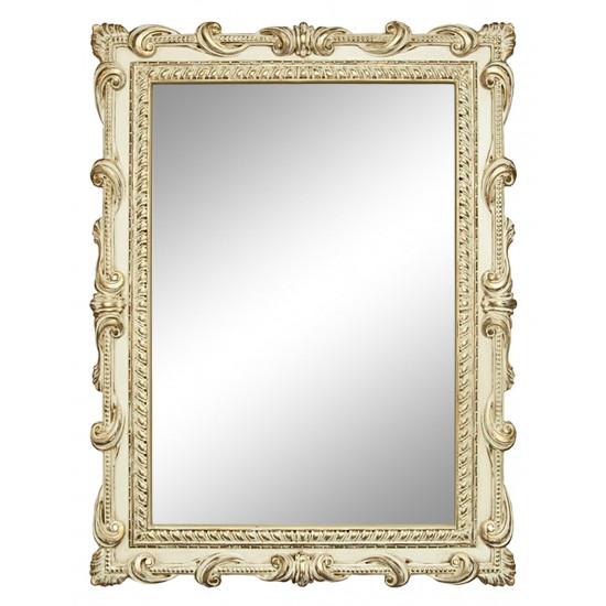 Зеркало настенное в раме «Лива» Слоновая кость/золото/патина в интернет-магазине ROSESTAR фото