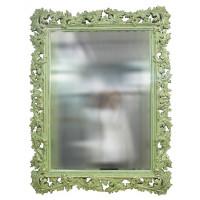 Зеркало настенное в зелёной раме «Фрея» Олива/шебби шик/золото