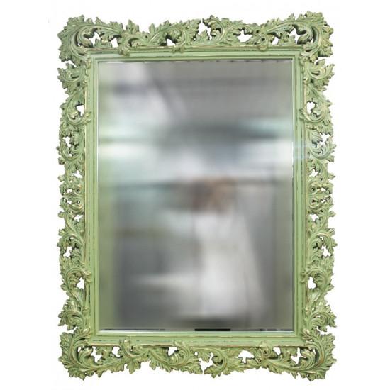 Зеркало настенное в зелёной раме «Фрея» Олива/шебби шик/золото в интернет-магазине ROSESTAR фото