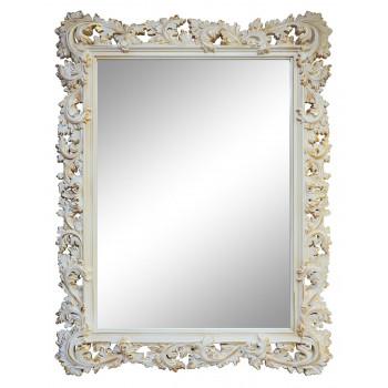Зеркало настенное в раме «Фрея» Слоновая кость/золото/патина