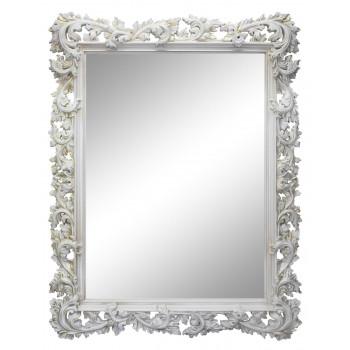 Зеркало настенное в белой раме «Фрея» Белый/золотая патина