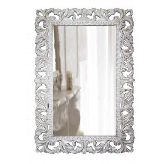 Зеркало настенное в белой раме «Отталиа» Белый/золотая патина в интернет-магазине ROSESTAR фото