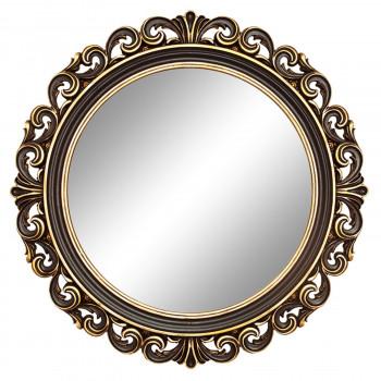 Круглое настенное зеркало в раме «Фроуд» Венге/золото