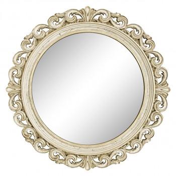 Круглое настенное зеркало в раме «Фроуд» Слоновая кость/золото/патина/кракелюр