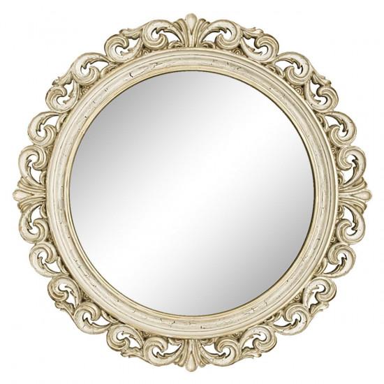Круглое настенное зеркало в раме «Фроуд» Слоновая кость/золото/патина/кракелюр в интернет-магазине ROSESTAR фото