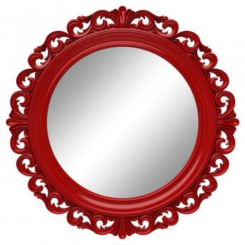 Круглое настенное зеркало в красной раме «Фроуд» Красное