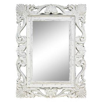 Зеркало настенное в белой раме «Дэгни» Белый/кракелюр/велюр
