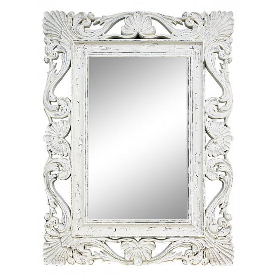 Зеркало настенное в белой раме «Дэгни» Белый/кракелюр/велюр в интернет-магазине ROSESTAR фото