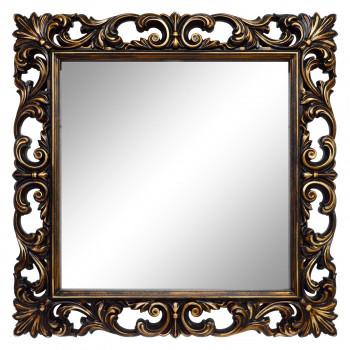 Зеркало квадратное настенное в раме «Стейн» Венге/золото