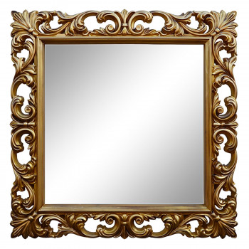 Зеркало квадратное настенное в золотой раме «Стейн» Золото/патина