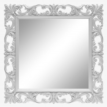 Зеркало квадратное настенное в белой раме «Стейн» Белый глянец