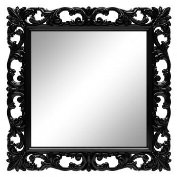 Зеркало квадратное настенное в чёрный раме «Стейн» Чёрный глянец