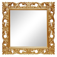 Зеркало квадратное настенное в золотой раме «Стейн» Золото королевское