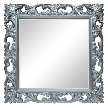 Зеркало квадратное настенное в серебряной раме «Стейн» Серебро хром