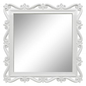 Зеркало квадратное настенное в белой раме «Мэрит» Белый глянец