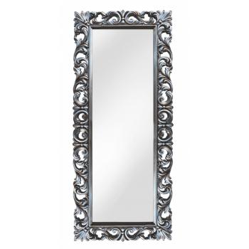 Зеркало напольное и настенное большое в полный рост в серебряной раме «Вегард» Серебро/патина