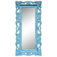 Зеркало напольное и настенное большое в полный рост в голубой раме «Дэгни» Голубой/охра/шебби шик