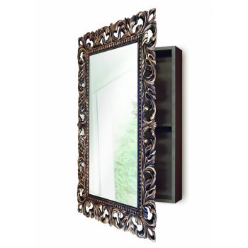 Зеркальный шкаф в ванную навесной «Анника» Венге/золото