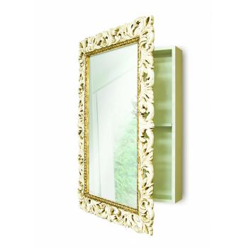 Зеркальный шкаф в ванную навесной «Анника» Слоновая кость/золото/патина