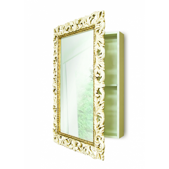 Зеркальный шкаф в ванную навесной «Анника» Слоновая кость/золото/патина в интернет-магазине ROSESTAR фото