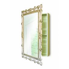Зеркальный шкаф в ванную навесной «Лива» Слоновая кость/золото/патина