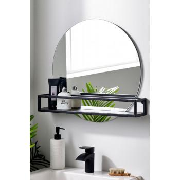 Круглое зеркало с черной металлической полкой Шелф