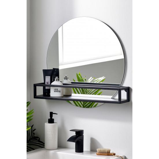 Круглое зеркало с черной металлической полкой Шелф в интернет-магазине ROSESTAR фото