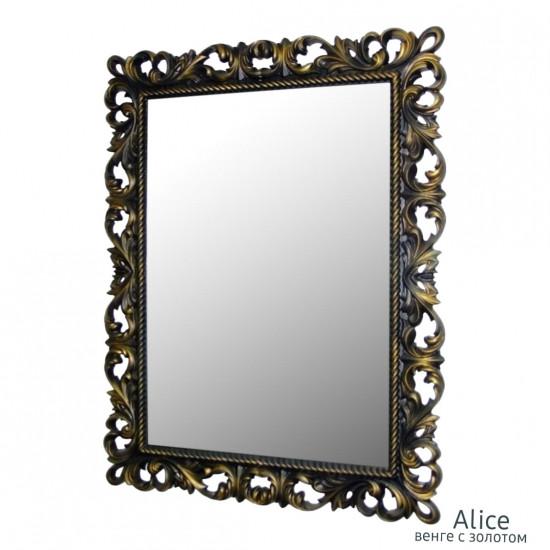 Зеркало настенное в раме Alice Венге с золотом в интернет-магазине ROSESTAR фото