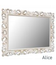 Зеркало настенное в раме  Alice Белое с золотом