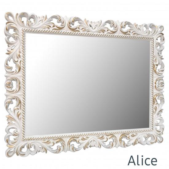 Зеркало настенное в раме  Alice Белое с золотом в интернет-магазине ROSESTAR фото