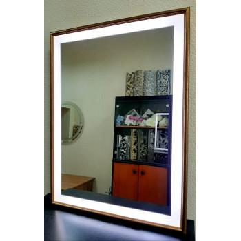 Зеркало в деревянной раме с LED подсветкой Эксл Роуз Античное золото