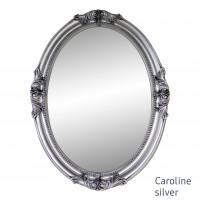 Овальное настенное зеркало в серебряной раме Caroline Silver