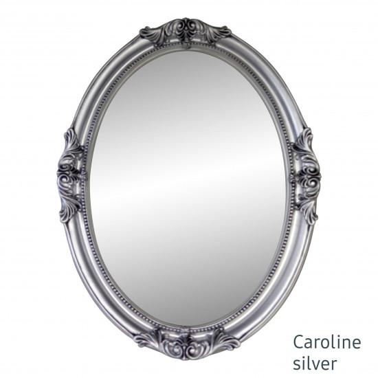 Овальное настенное зеркало в серебряной раме Caroline Silver в интернет-магазине ROSESTAR фото