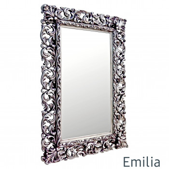 Зеркало настенное в раме Emilia Чернёное серебро