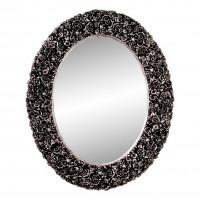 Овальное настенное зеркало в раме «Эмма» Чернёное серебро