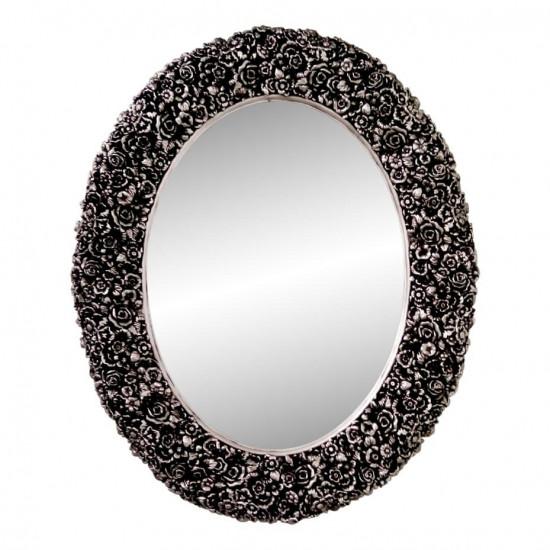 Овальное настенное зеркало в раме «Эмма» Чернёное серебро в интернет-магазине ROSESTAR фото