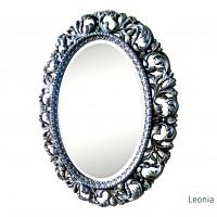 Овальное настенное зеркало в раме Leonia Чернёное серебро