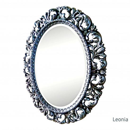 Овальное настенное зеркало в раме Leonia Чернёное серебро в интернет-магазине ROSESTAR фото