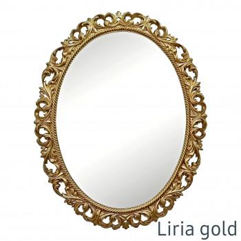 Овальное настенное зеркало в золотой раме Liria Gold