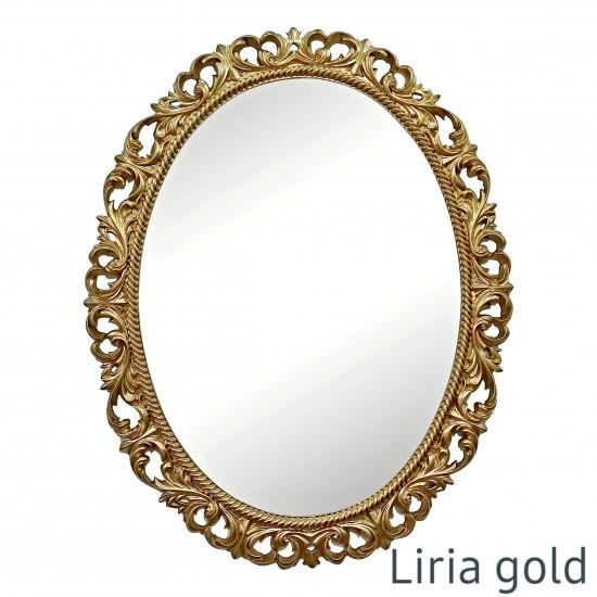 Овальное настенное зеркало в золотой раме Liria Gold в интернет-магазине ROSESTAR фото