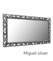 Большое настенное зеркало в серебряной раме Miguel Silver