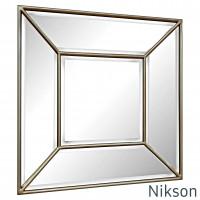 Квадратное настенное зеркало в зеркальной раме Nikson Античное золото