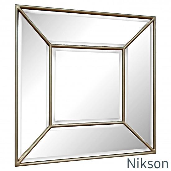 Квадратное настенное зеркало в зеркальной раме Nikson Античное золото в интернет-магазине ROSESTAR фото