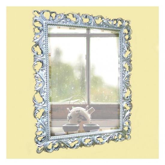 Зеркало настенное в багетной раме «Джениель» Серебро в интернет-магазине ROSESTAR фото