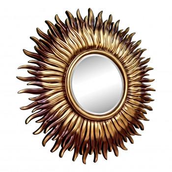 Зеркало в виде солнца «Джейн» Коричневое/золотое