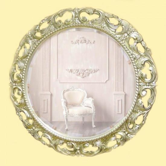 Круглое зеркало в раме «Мишель» Серебро Шампань в интернет-магазине ROSESTAR фото