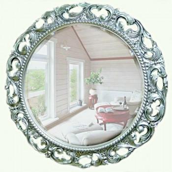 Круглое зеркало в раме «Мишель» Серебро